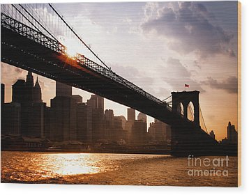 Brooklyn Bridge And Skyline Manhattan New York City Wood Print