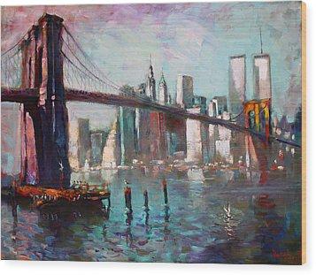 Brooklyn Bridge And Twin Towers Wood Print by Ylli Haruni