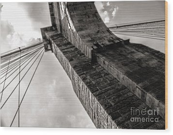 Wood Print featuring the photograph Brooklyn Bridge by Angela DeFrias