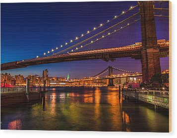 Wood Print featuring the photograph Brooklyn Bridge At Night by Chris McKenna