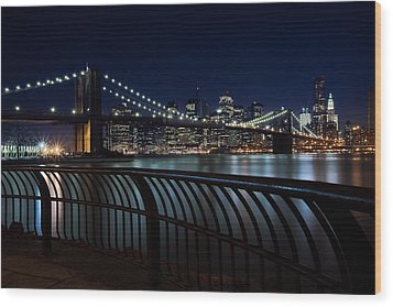 Brooklyn Bridge At Night Wood Print