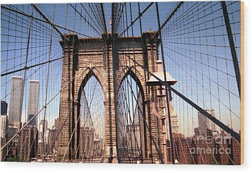 Brooklyn Bridge Before 9/11/01 Wood Print
