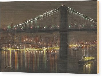 Brooklyn Bridge Cruciform Wood Print by Tom Shropshire