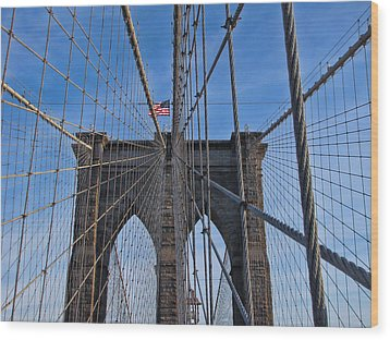 Wood Print featuring the photograph Brooklyn Bridge by David Gleeson