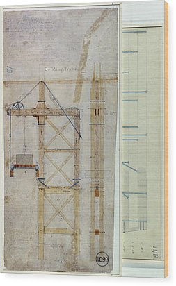 Brooklyn Bridge: Diagram Wood Print by Granger