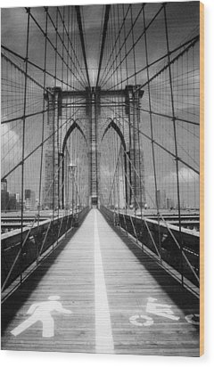 Brooklyn Bridge Infrared Wood Print by Dave Beckerman