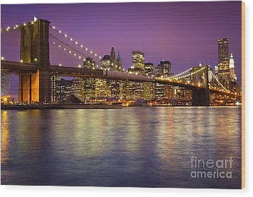 Brooklyn Bridge Wood Print by Inge Johnsson