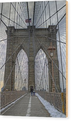 Wood Print featuring the photograph Brooklyn Bridge by Jerry Gammon