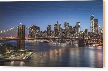 Wood Print featuring the photograph Brooklyn Bridge by Mihai Andritoiu