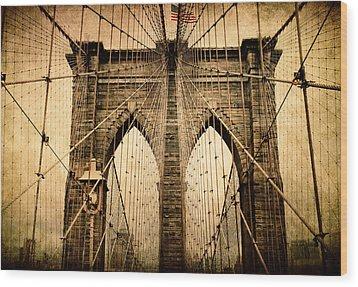 Brooklyn Bridge Nostalgia Wood Print by Jessica Jenney
