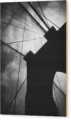 Brooklyn Bridge Silhouette Wood Print by Dave Beckerman