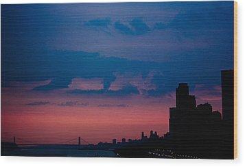 Wood Print featuring the photograph Brooklyn Bridge Sunrise by Sara Frank