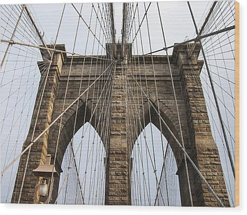 Brooklyn Bridge Tower Wood Print by Frank Winters