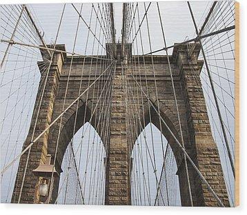 Brooklyn Bridge Tower Wood Print by Frank Winters