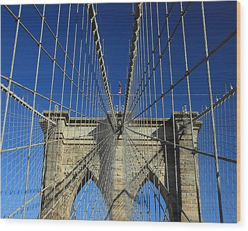 Brooklyn Bridge Tower Wood Print