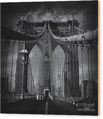 Brooklyn Bridge Up Close New York City Wood Print by Sabine Jacobs