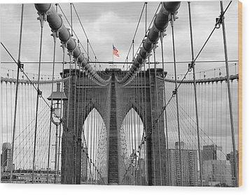 Brooklyn Bridge With American Flag Wood Print by Ramona Johnston