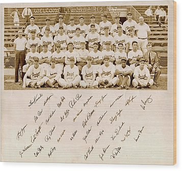 Brooklyn Dodgers Baseball Team Wood Print