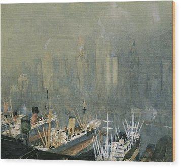 Brooklyn Harbor Circa 1921  Wood Print by Aged Pixel