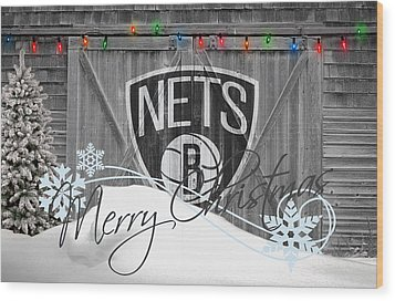 Brooklyn Nets Wood Print by Joe Hamilton