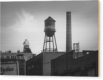 Wood Print featuring the photograph Brooklyn Water Tower And Smokestack - Black And White Industrial Chic by Gary Heller