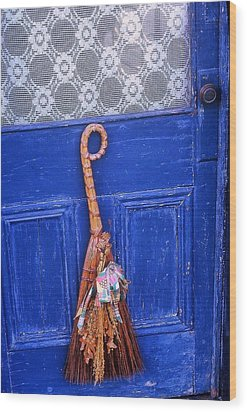 Wood Print featuring the photograph Broom On Blue Door by Rodney Lee Williams