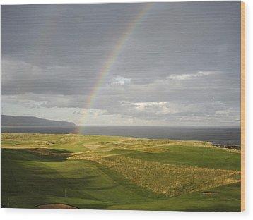 Brora Golf Course Rainbow Wood Print by Sally Ross