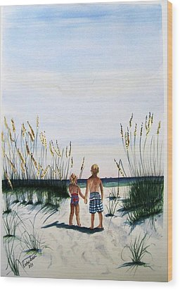 Wood Print featuring the painting Brother Sister On Beach Sold by Richard Benson
