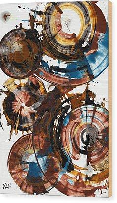 Wood Print featuring the painting Brown And Blue Spherical Joy - 992.042212 by Kris Haas