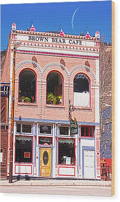 Brown Bear Cafe Silverton Colorado Wood Print by Janice Rae Pariza