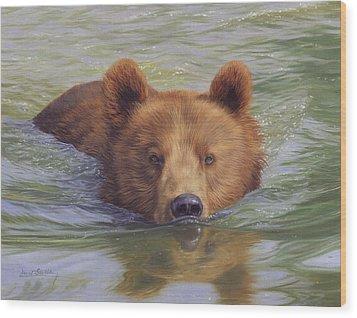 Brown Bear Painting Wood Print by David Stribbling