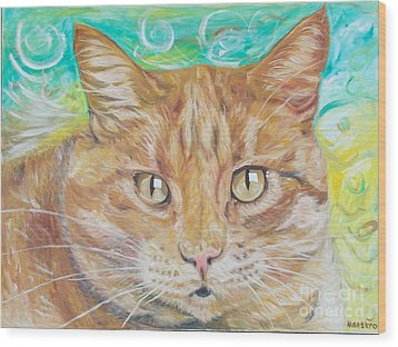 Brown Cat Wood Print by PainterArtist FINs husband Maestro