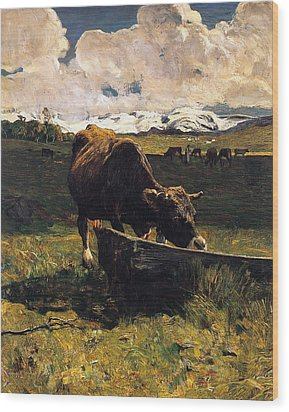 Brown Cow At Trough  Wood Print by Giovanni Segantini