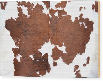 Wood Print featuring the photograph Brown Cowhide by Gunter Nezhoda