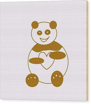 Brown Panda Wood Print by Ausra Huntington nee Paulauskaite