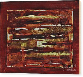 Brown Red And Golds Abstract Wood Print by Marsha Heiken