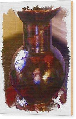 Brown Vase Design Wood Print by Joan-Violet Stretch