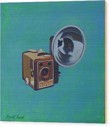 Brownie Box Camera Wood Print by The Vintage Painter