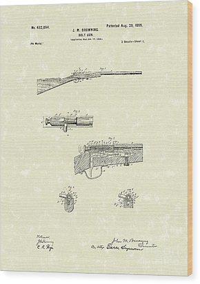Browning Bolt Gun 1899 Patent Art Wood Print by Prior Art Design