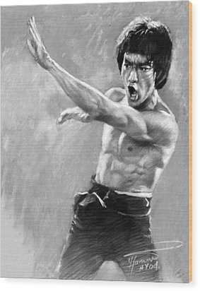 Bruce Lee Wood Print by Viola El