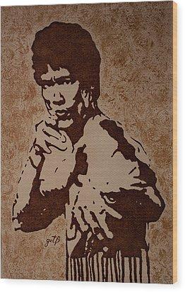 Bruce Lee Original Coffee Painting Wood Print by Georgeta Blanaru