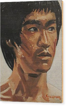 Bruce Lee Wood Print by Patrick Killian