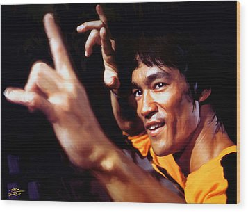 Bruce Lee Wood Print by Paul Tagliamonte