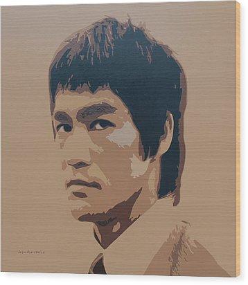 Bruce Lee Wood Print by Zelko Radic Bfvrp