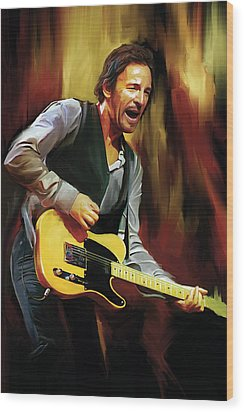 Bruce Springsteen Artwork Wood Print by Sheraz A