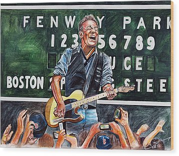 Bruce Springsteen At Fenway Park Wood Print by Dave Olsen