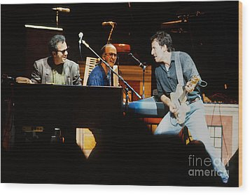 Bruce Springsteen Billy Joel And Paul Schaffer Wood Print by Chuck Spang