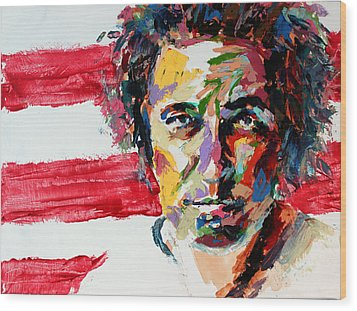 Bruce Springsteen Wood Print by Derek Russell