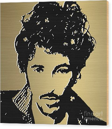 Bruce Springsteen Gold Series Wood Print by Marvin Blaine
