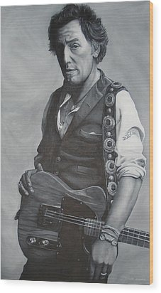 Bruce Springsteen I Wood Print by David Dunne